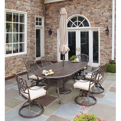 Charlotte 7 Piece Dining Set with Umbrella