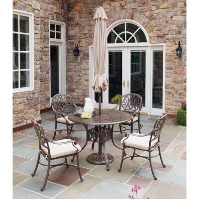 Lorna 5 Piece Dining Set with Umbrella Table Size: 42