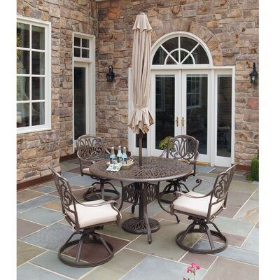 Maye 5 Piece Dining Set with Umbrella Table Size: 48