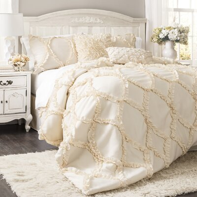 Council 3 Piece Comforter Set Color: Ivory, Size: King
