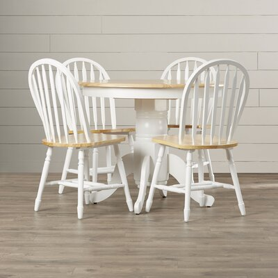 Leonora 5 Piece Dining Set Finish: White / Natural