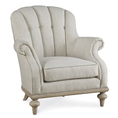 Burnet Upholstered Christiansen Tufted Armchair and Ottoman