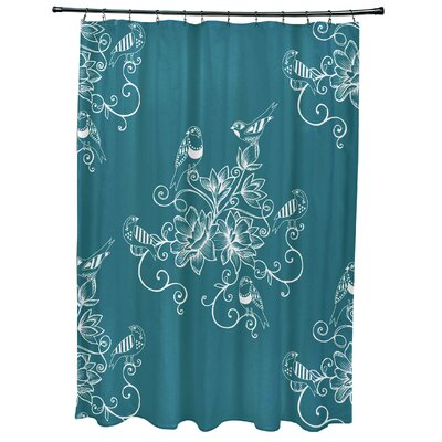 Grovetown Morning Birds Floral Print Shower Curtain Color: Teal