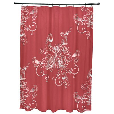 Cecilia Morning Birds Floral Print Shower Curtain Color: Coral