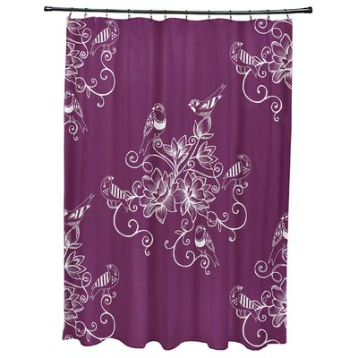 Cecilia Morning Birds Floral Print Shower Curtain Color: Purple