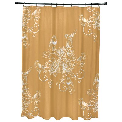 Cecilia Morning Birds Floral Print Shower Curtain Color: Gold