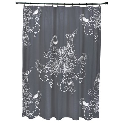 Grovetown Morning Birds Floral Print Shower Curtain Color: Gray