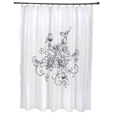 Cecilia Five Little Birds Floral Print Shower Curtain Color: Gray