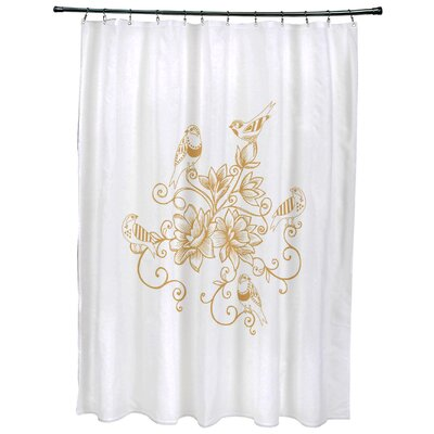 Grovetown Five Little Birds Floral Print Shower Curtain Color: Gold