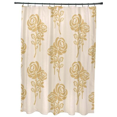Grovetown Floral Print Shower Curtains Color: Gold