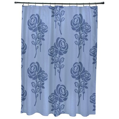 Grovetown Floral Print Shower Curtains Color: Blue