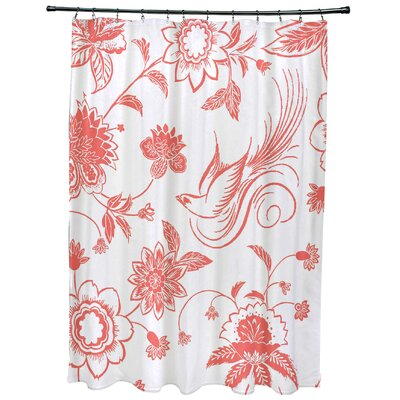 Cecilia Traditional Bird Floral Print Shower Curtain Color: Coral