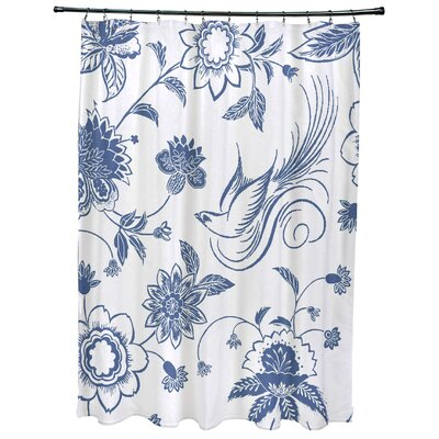 Grovetown Traditional Bird Floral Print Shower Curtain Color: Blue