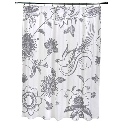 Cecilia Traditional Bird Floral Print Shower Curtain Color: Gray