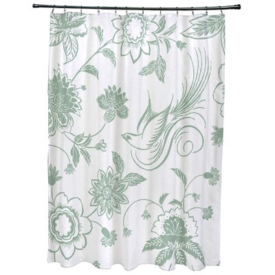 Grovetown Traditional Bird Floral Print Shower Curtain Color: Green
