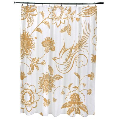 Cecilia Traditional Bird Floral Print Shower Curtain Color: Gold
