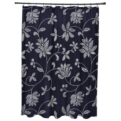 Cecilia Floral Print Shower Curtain Color: Navy Blue