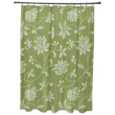 Cecilia Floral Print Shower Curtain Color: Green