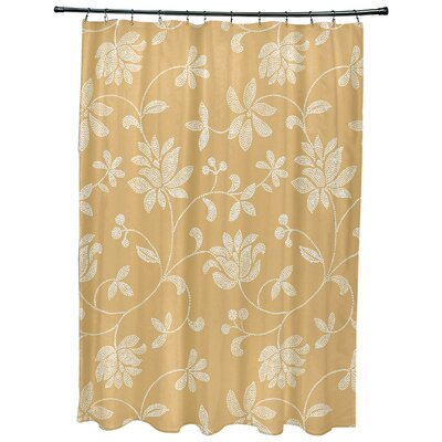 Cecilia Floral Print Shower Curtain Color: Gold