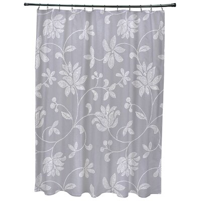 Cecilia Floral Print Shower Curtain Color: Gray