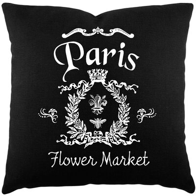 Circee Flower Market Cotton Throw Pillow Color: Black / White
