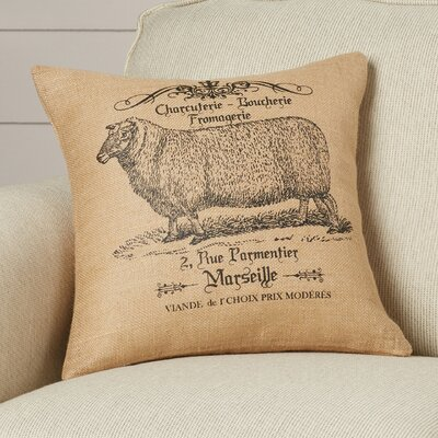 Rosaire Sheep Burlap Throw Pillow