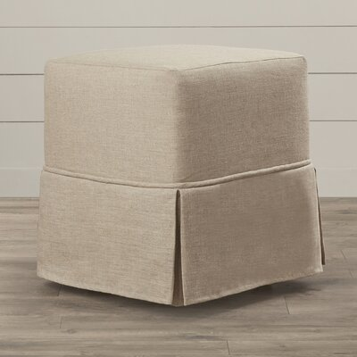 Twin Bridges Cube Prairie Linen Skirted Ottoman