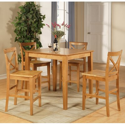 Mathys 5 Piece Counter Height Pub Table Set Color: Oak