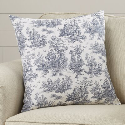 Leflore Cotton Toile Throw Pillow Color: Blue, Size: 20 H x 20 W