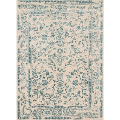 Lyster Ivory/Blue Area Rug Rug Size: Rectangle 67 x 92