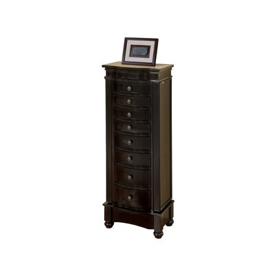 Riverton Eight Drawer Jewelry Armoire Finish: Black