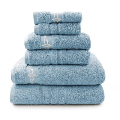 6 Piece Towel Set with Fleur Swirl Embroidery Color: Blue / Ivory