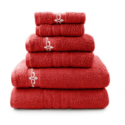 6 Piece Towel Set with Fleur Swirl Embroidery Color: Cranberry / Ivory