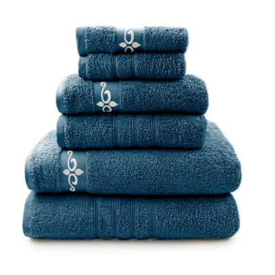 6 Piece Towel Set with Fleur Swirl Embroidery Color: Denim / Ivory