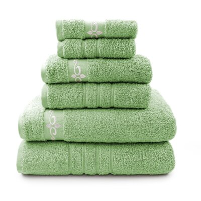 6 Piece Towel Set with Fleur Swirl Embroidery Color: Sage / Ivory