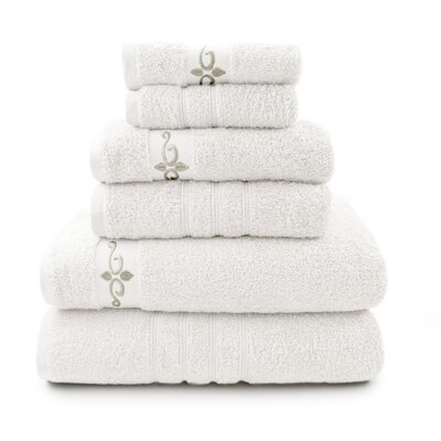 Wynkoop 6 Piece Towel Set with Fleur Swirl Embroidery Color: White / Gray