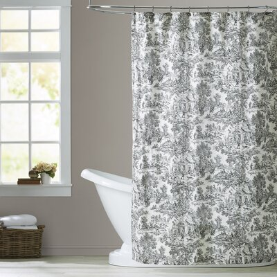 Lablanc Cotton Toile Shower Curtain Color: Black