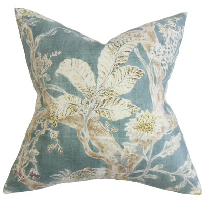 Ilana Floral Throw Pillow Cover Color: Blue
