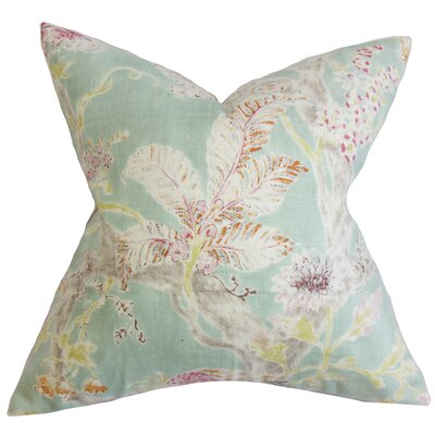 Ilana Floral Throw Pillow Cover Color: Sea Blue