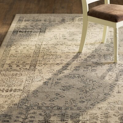 Augustine Beige and Blue Area Rug Rug Size: 51 x 76