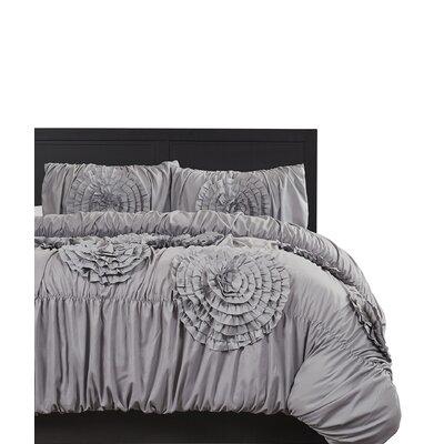 Acton 3 Piece Comforter Set Color: Gray, Size: Queen