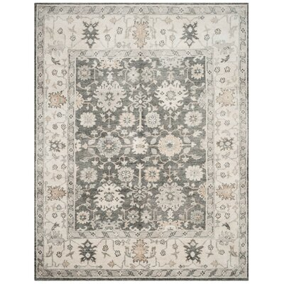 Yanis Hand-Knotted Charcoal/Ivory Area Rug Rug Size: Rectangle 5 x 8