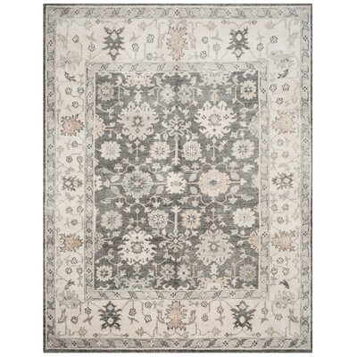 Yanis Hand-Knotted Charcoal/Ivory Area Rug Rug Size: 5 x 8