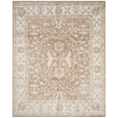 Yanis Hand-Knotted Brown/Ivory Area Rug Rug Size: Rectangle 5 x 8