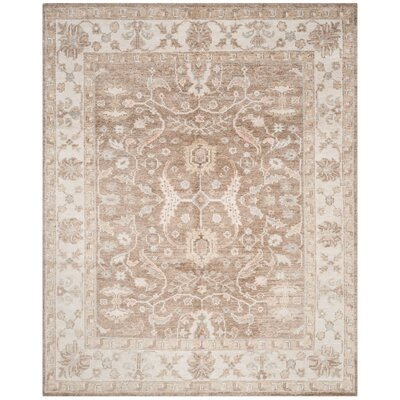 Yanis Hand-Knotted Brown/Ivory Area Rug Rug Size: 5 x 8