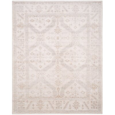 Yassine Hand-Knotted Beige/Blue Area Rug Rug Size: 8 x 10