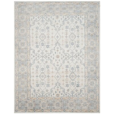 Yassine Hand-Knotted Ivory/Blue Area Rug Rug Size: Rectangle 8 x 10
