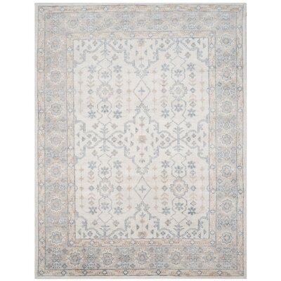Yassine Hand-Knotted Ivory/Blue Area Rug Rug Size: 5 x 8