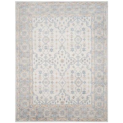 Yassine Hand-Knotted Ivory/Blue Area Rug Rug Size: 8 x 10