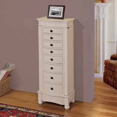 Riverton Eight Drawer Jewelry Armoire Color: Off-White
